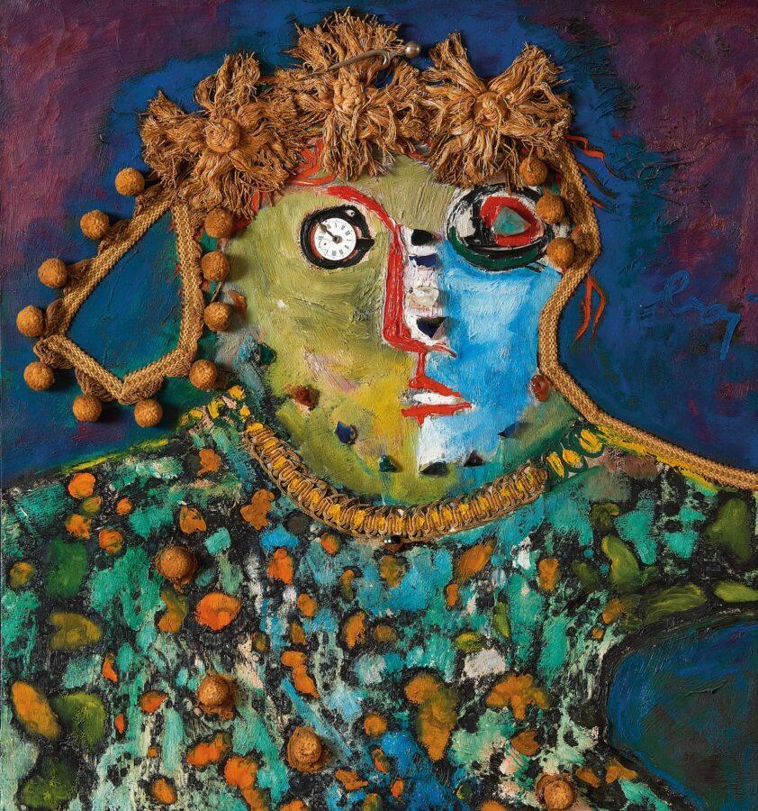 Enrico Baj, Femme au diapason, 1960, olio e collage su stoffa, 90 x 70 cm_Courtesy Mazzoleni London-Torino