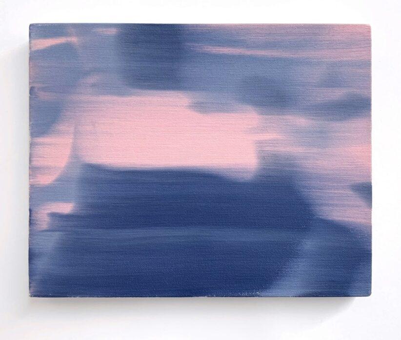 Ettore Pinelli Blurring motion zoom in (rose light) 2016 olio su tela 24x30 cm