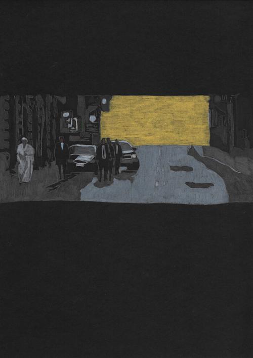 Flavio Favelli, Via del Corso, matite colorate su cartoncino, 29,7x21 cm, 2020