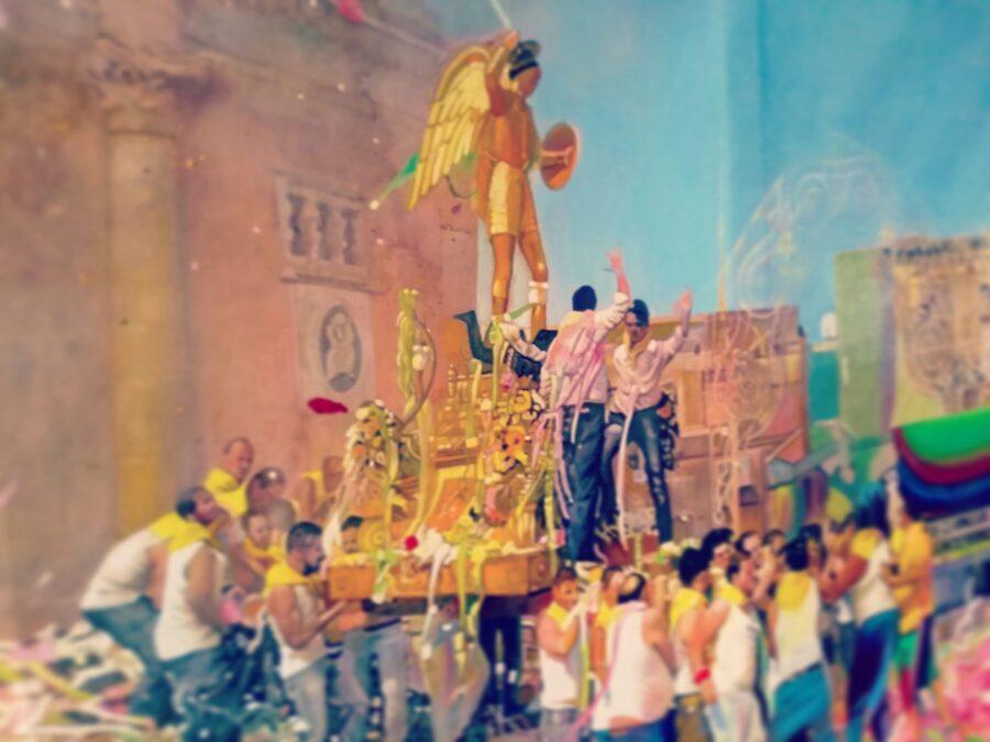 Francesco Lauretta, Festa gialla, olio e oro su tela, 110 x 183 cm., 2020, in corso d'opera