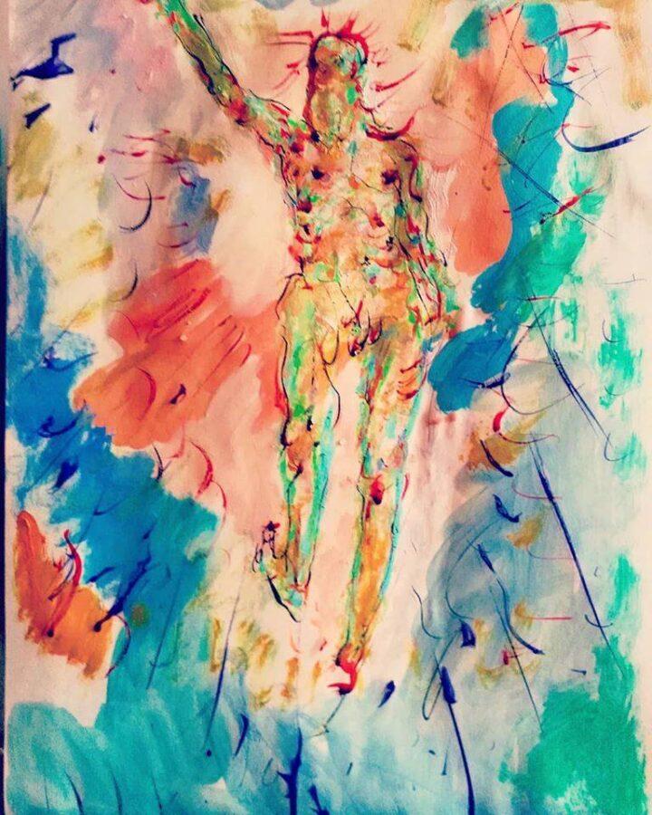 Francesco Lauretta, Risorto, esercizio dalla Scuola di Santa Rosa, inchiostri su carta, 42 x 29 cm., 2020