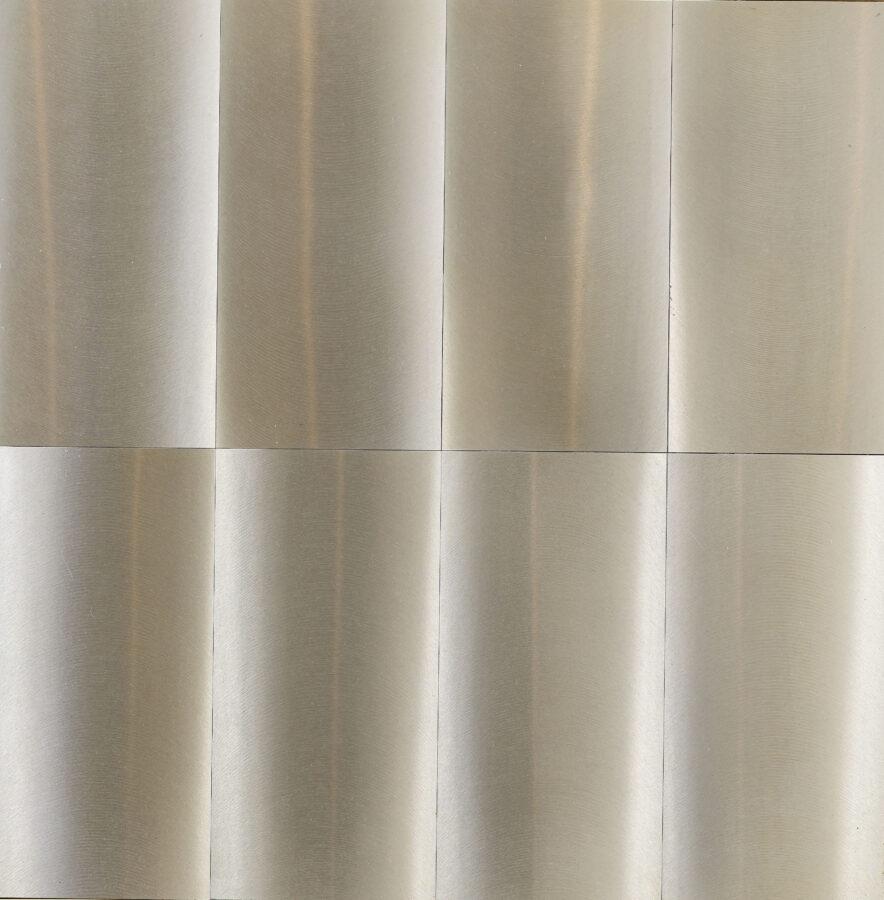 Getulio Alviani, Superficie a Testura Vibratile, 1962, aluminio_56 x 46cm Courtesy Mazzoleni London-Torino