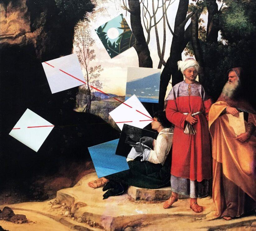 Giulio Paolini Senza titolo, 2015 Inchiostro rosso e collage su carta nera 35 x 40 cm © Giulio Paolini Foto Courtesy Fondazione Giulio e Anna Paolini, Torino