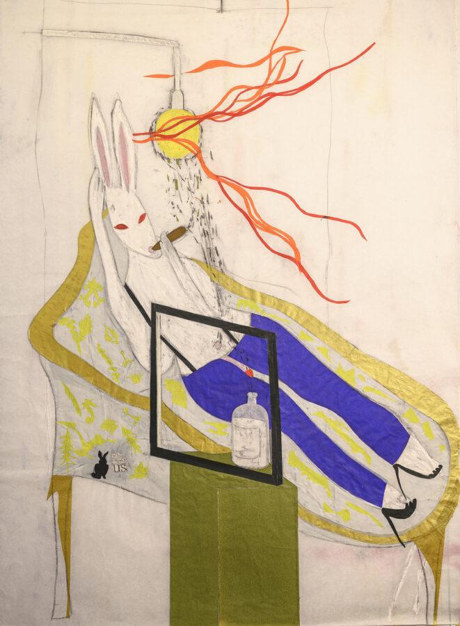 disegno di un coniglio che fuma