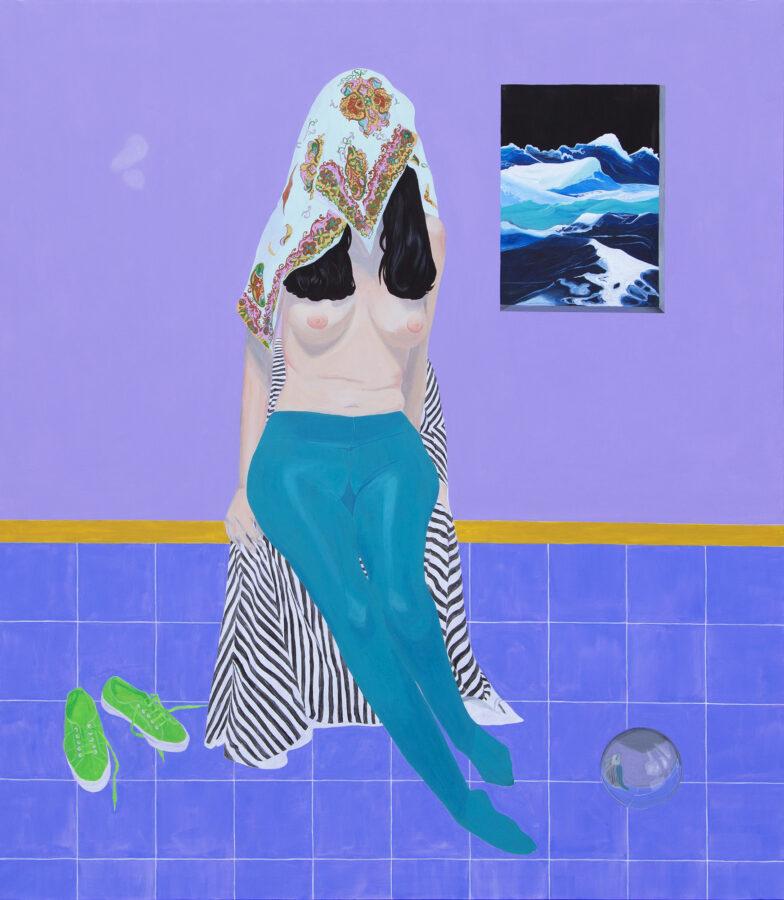 Irene Balia Finto ritratto con vanitas_acrilico su tela_cm140x160_2020
