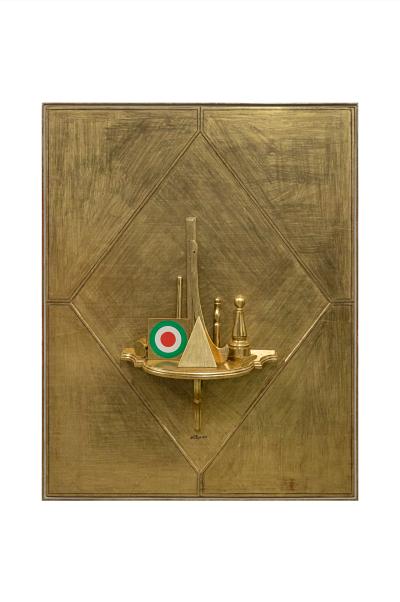 Lucio Del Pezzo, Grande quadro d'oro, 1964, tecnica mista su legno, 160 x 130 x 24 cm, collezione privata, Courtesy Fondazione Marconi, Milano, foto Fabio Mantegna, Milano