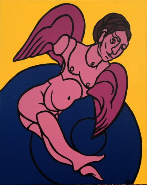 Valerio Adami, Studio per Salto nel vuoto, acrilico su tela, 2020, 92X73 cm.