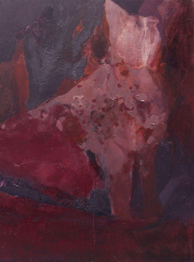 Beatrice Gelmetti, Le chat rouge, 2019, olio e resine su tela, 170x210cm