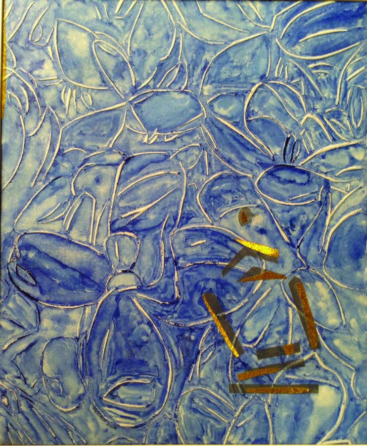 Giorgio Piccaia, Fiori nel Tempio, 2018, monotipo e collage su carta, cm 45x37