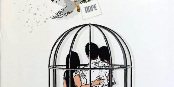Disegno di Tv Boy con una famiglia in gabbia