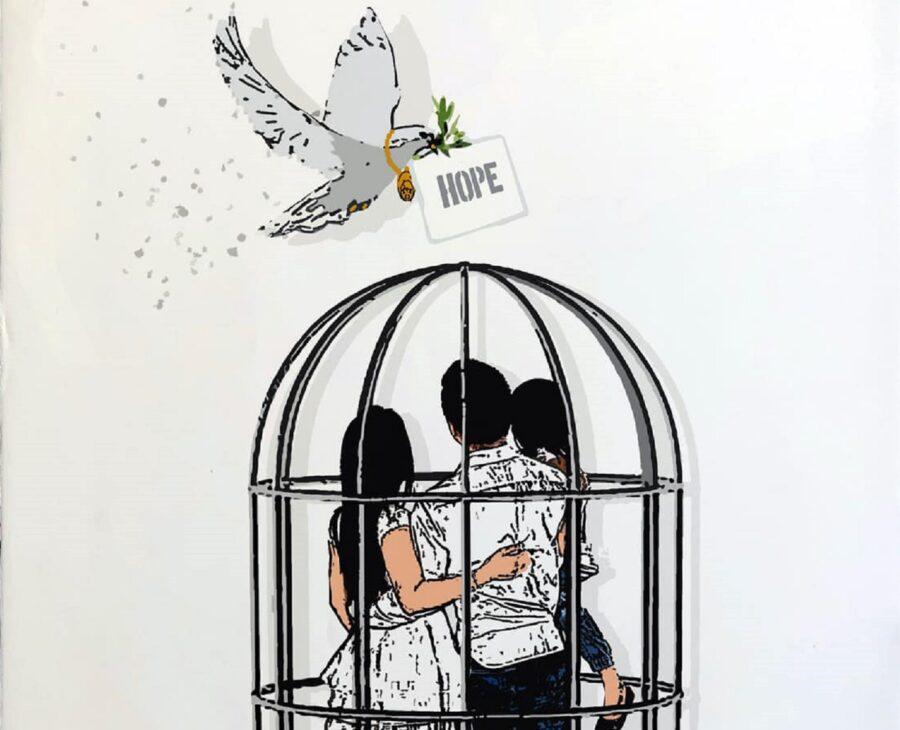 una famigia in gabbia e una colomba che porta un messaggio di speranza