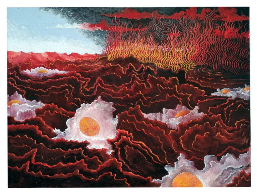 Malinverni, Uova in purgatorio-Tempera su carta-23x31 cm