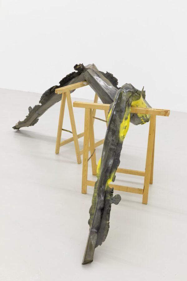 Georg Herold Tainted sculpture 2016 pu foam lascquered wood 72x148x35cm
