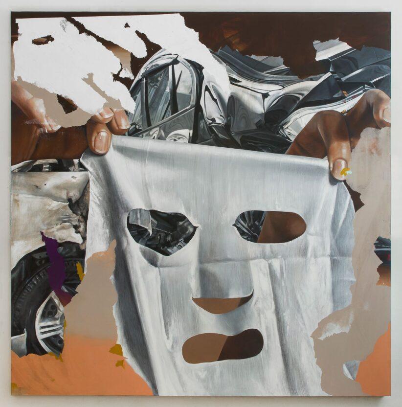 Martinucci, acrilico, terra, grafite e alluminio su tela, 200x200x4cm Courtesy l'artista