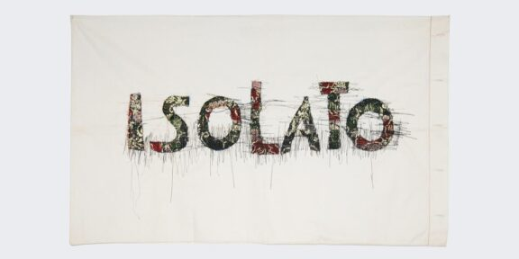 Isolato, 2020. 51x83 cm, Sardinian brocade sewn on cotton, ed. 6/9. Courtesy of the artist and Prometeo Gallery, Milan / Lucca