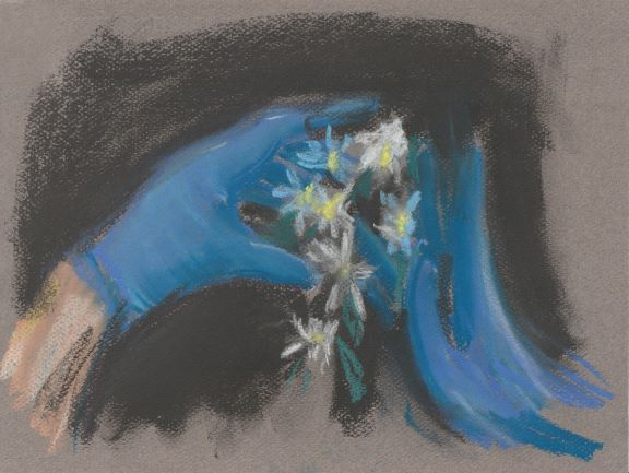Vera Portatadino, Be Careful, 2020 april, chalks on paper, 24 x 30cm- webres