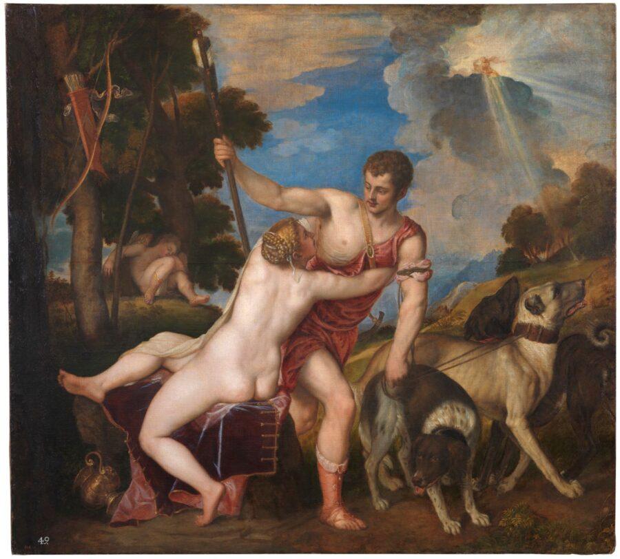 1.Tiziano, Venere e Adone, 1553-1554, olio su tela, 186 x 207 cm, Museo del Prado, Madrid