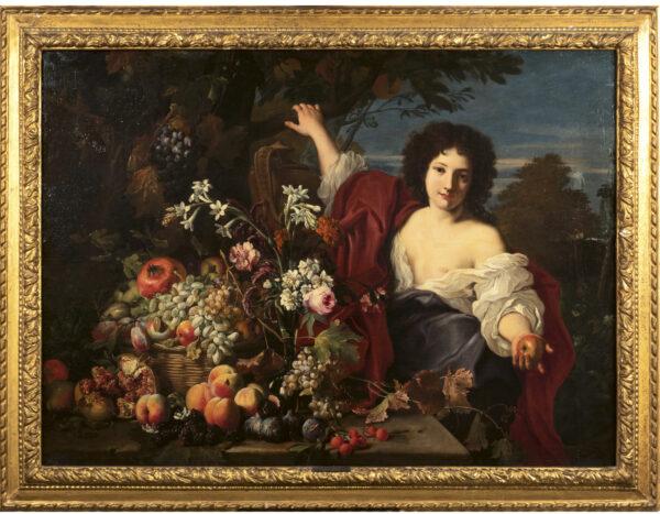"""Lotto 15 - Abraham Brueghel, """"Natura morta di frutta con figura femminile e paesaggio sullo sfondo"""", olio su tela. Stima 40.000,00 / 60.000,00 euro"""