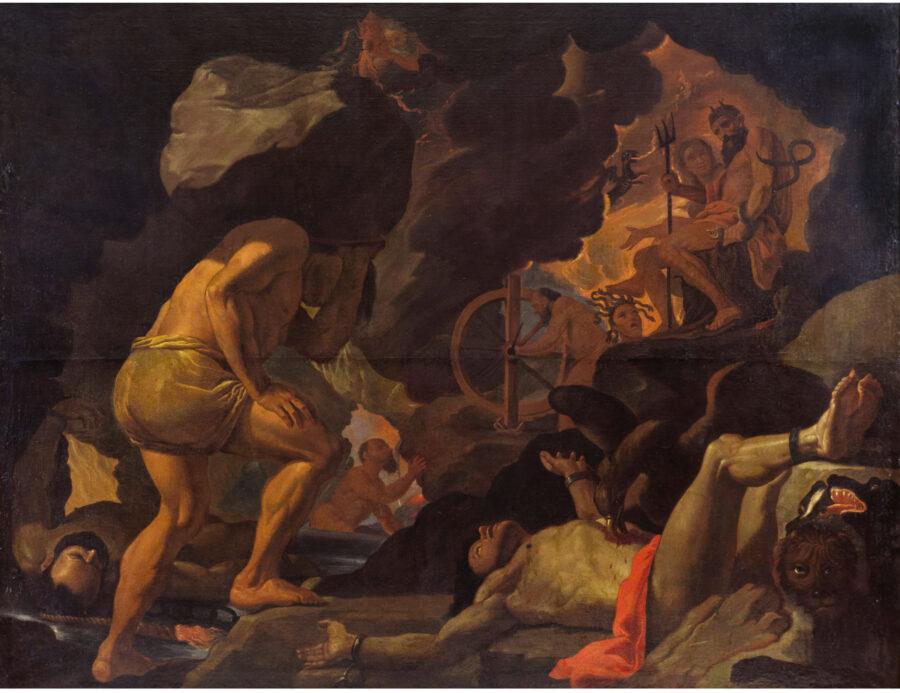 """Lotto 99 - Mattia Preti, """"I Dannati nell'Ade"""", olio su tela, entro cornice in legno dorato. Stima 400.000,00 / 600.000,00 euro"""