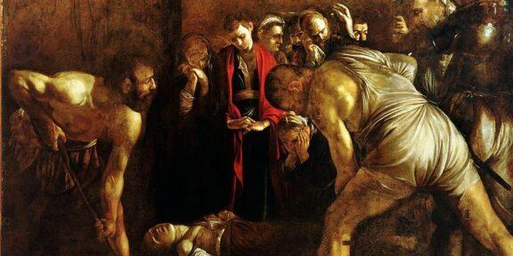 Particolare del Seppellimento di Santa Lucia di Caravaggio a Siracusa