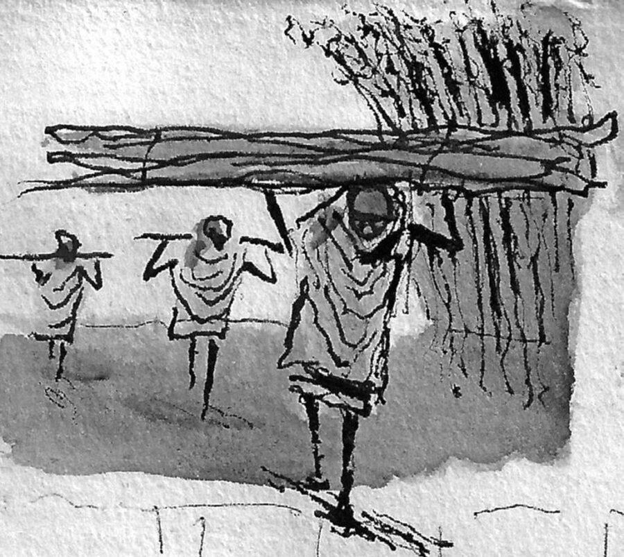 Donne che portano fasci di rami di eucalipto sulle loro teste, giù per le colline dell'Entoto vicino ad Addis Abeba, Etiopia. Schizzo di Manuel Ramos, per gentile concessione dell'artista-etnografo