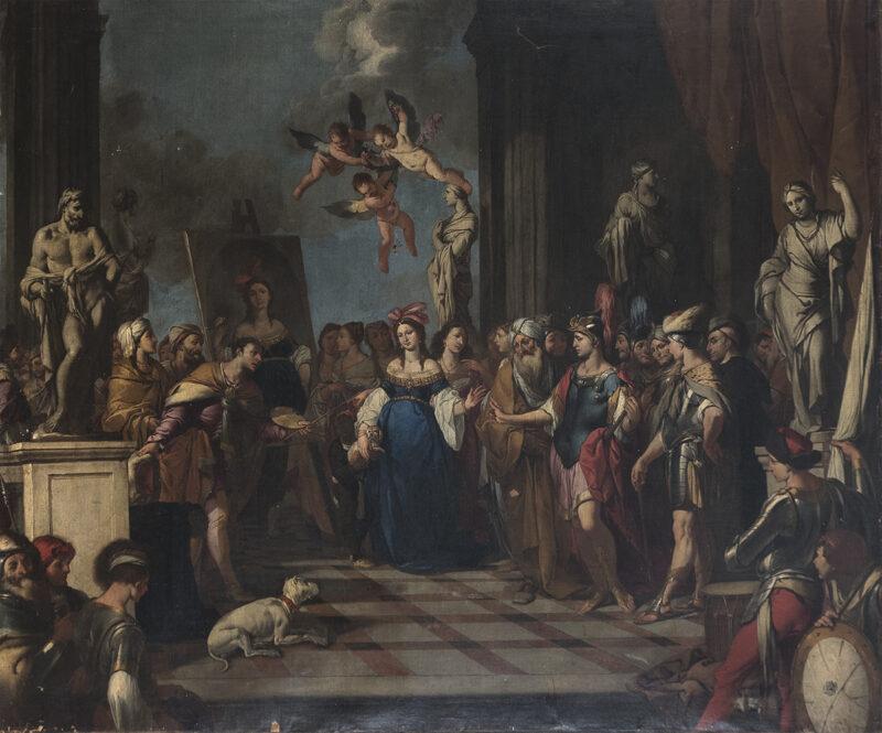 Lotto 43 - bottega di Giulio Carpioni, (Venezia 1613 - Vicenza1678). Olio su tela intitolato Apelle ritrae Campapse dinanzi ad Alessandro Magno. Stima 1.800-2.200 euro