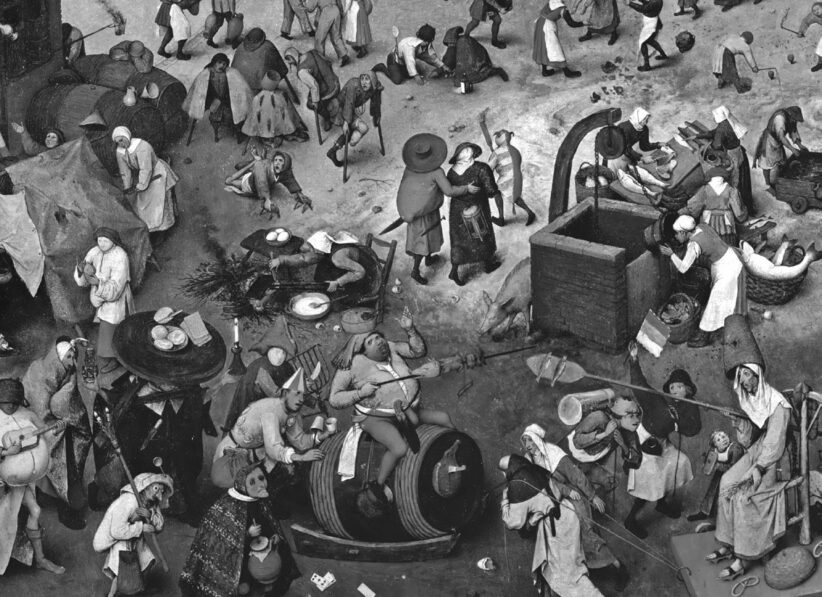Le relazioni sociali si danno nella performance. Un dettaglio tratto dal quadro Lotta tra Carnevale e Quaresima del 1559, d Pieter Bruegel il Vecchio, conservato al Kunsthistorisches Museum di Vienna