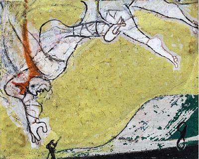 Osvaldo Licini, Angelo ribelle su fondo giallo, 1949, olio su tela, 26 X 32,5 cm, collezione privata