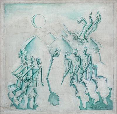 Osvaldo Licini, Soldati italiani, 1917, olio su tela, 60 X 60 cm, collezione privata