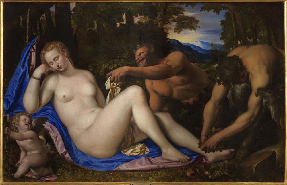 Simone Peterzano Venere e Cupido con due satiri in un paesaggio 1570, olio su tela Pinacoteca di Brera, Milano