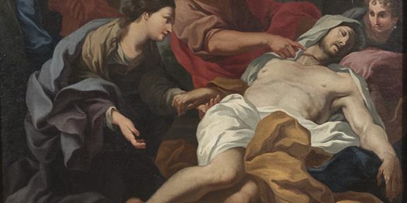 Lotto 67 - Ludivico Gimignani (Roma 1643 - Zagarolo 1697)Ritrovamento del corpo di San Marco (dettaglio). Olio su tela, cm. 173 x 121. Stima 10.000-15.000 euro