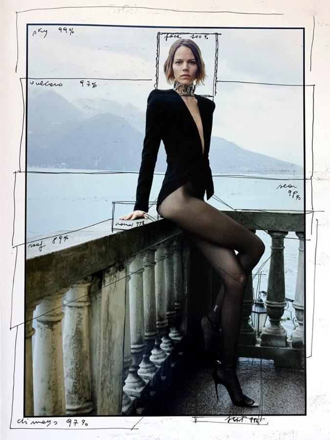 Test di human-vision, pennarello nero su foto di campagna di moda, 2019
