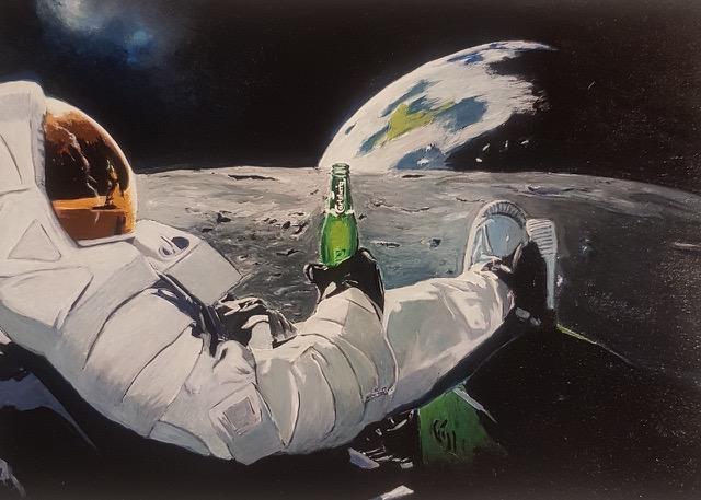 FOSCO VALENTINI Aperitivo luna, 2020 Olio su tavola/Oil on canvas 25 x 30 cm