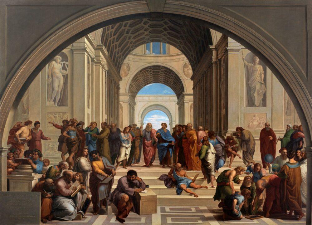 GIUSEPPE BEZZUOLI (Firenze 1784 - 1855) La Scuola di Atene, 1819. Olio su tela. Brescia, Musei Civici