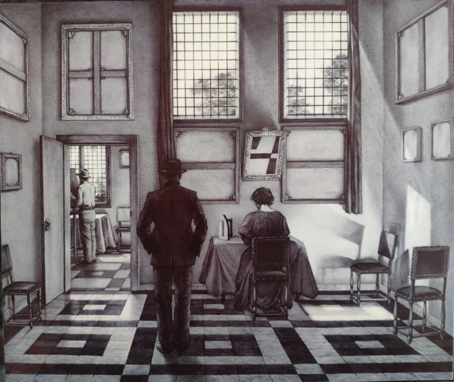 Giuseppe Stampone, Voluntary Quarantine, 2020. Penna bic su tavola, 29,5x35 cm | Courtesy of the artist and Prometeo Gallery Ida Pisani Milan/Lucca