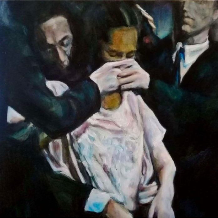 Iva Lulashi, Il primo mese, 2020. Olio su tela, 30x30 cm | Courtesy of the artist and Prometeo Gallery Ida Pisani Milan/Lucca