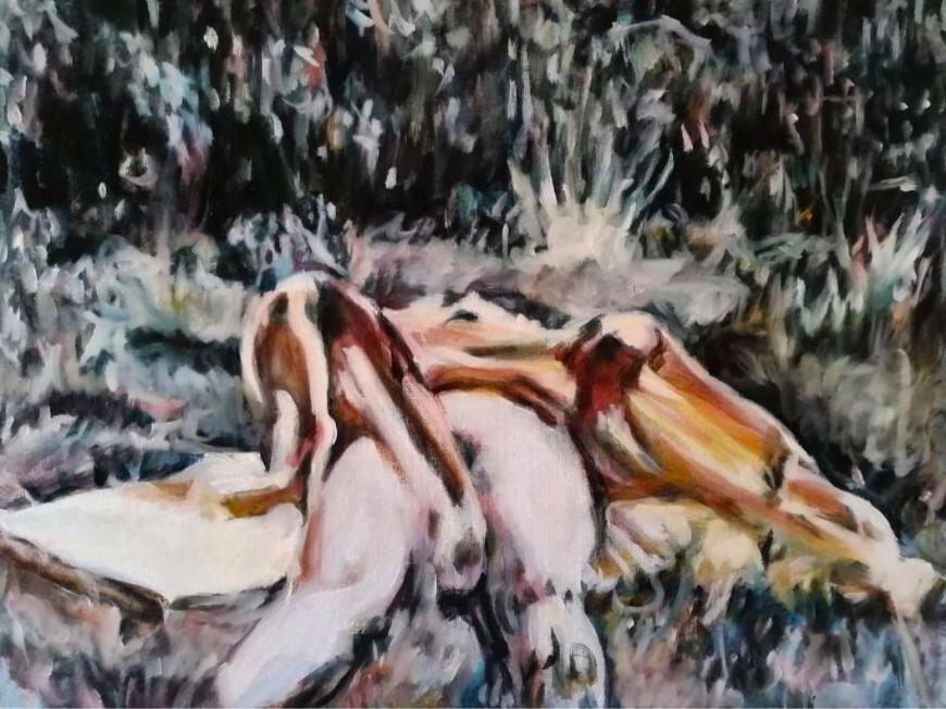 Iva Lulashi, Outside Underwear, 2020. Olio su tela, 30x40 cm | Courtesy of the artist and Prometeo Gallery Ida Pisani Milan/Lucca