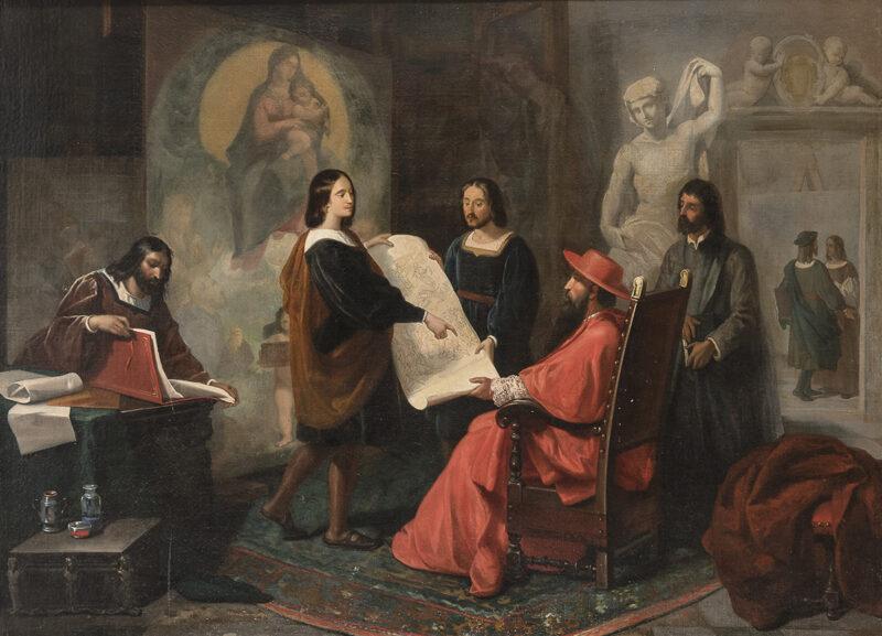 Lotto 458 - Pittore Italiano, XIX secolo. Raffaello mostra il bozzetto della trasfigurazione al Cardinale Giulio De' Medici, presso il suo Atelier. Olio su tela, cm. 102 x 136. Stima 5.000-7.000 euro