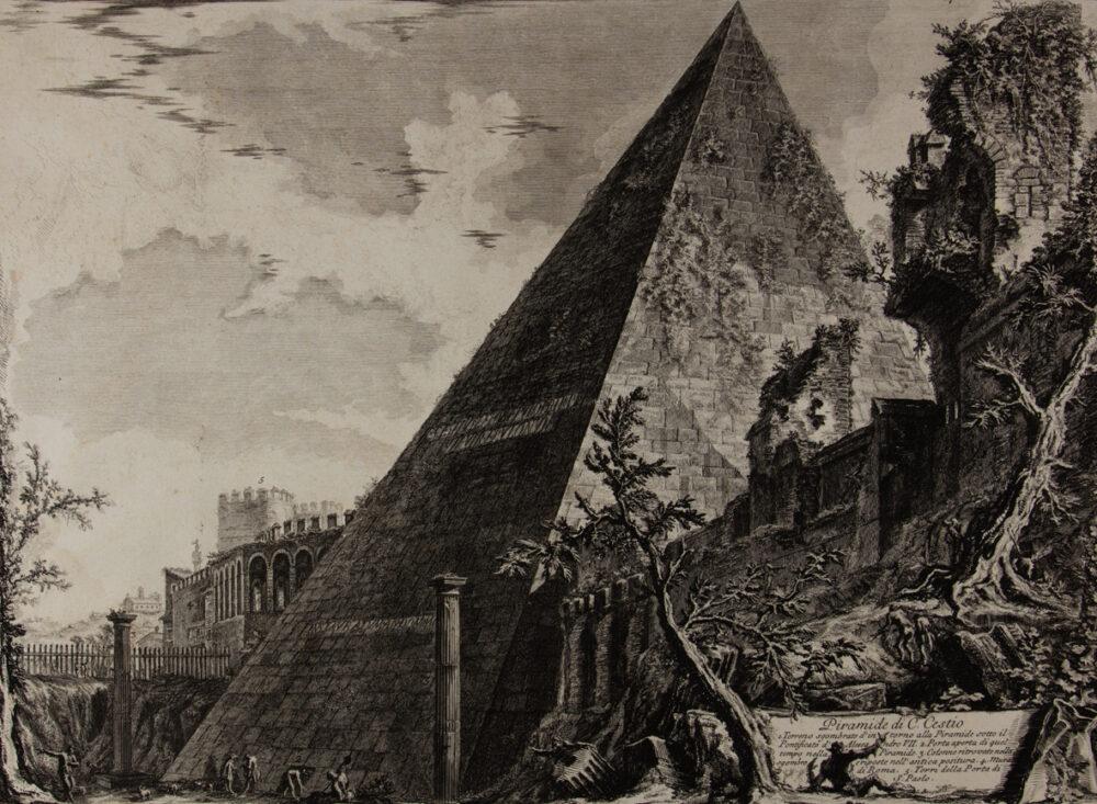 Giambattista Piranesi: Piramide di Caio Cestio. Acquaforte 45,5 x 57,3