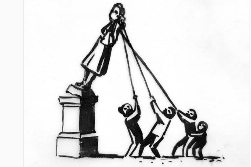 Bankcy, disegno sulla statua di Colsten