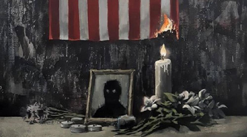 Opera di Banksy su George Floyd rappresentato come un'ombra nera