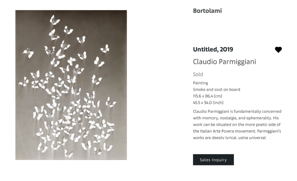 CLAUDIO PARMIGGIANI, Untitled 2019 - Bortolami gallery (New York) - Pittura e fuliggine su tela, 115.6 x86.4 cm - VENDUTO già da PDF di Anteprima
