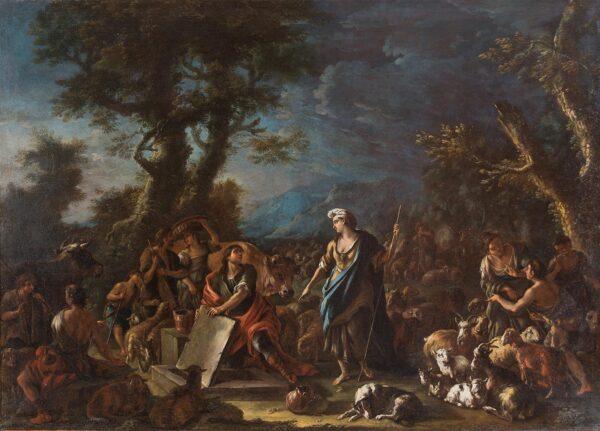 Domenico Brandi, Rebecca ed Eleazaro al pozzo, olio su tela,cm 127x180. Stima 18.000-25.000 euro