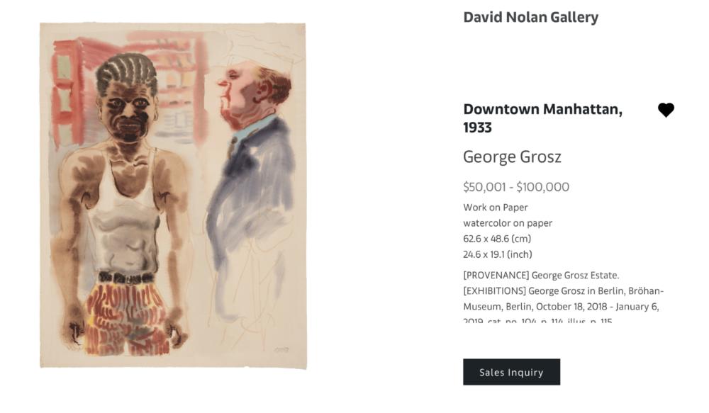 George Grosz, Downtown Manhattan, 1933, gouache , 62.6 x 48.6 (cm) - $50,000/ $100,000