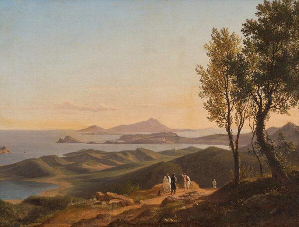 Ignoto paesaggista straniero attivo a Napoli nella prima metà del XIX secolo, Campi Flegrei olio su tela,cm 49x64,5. Stima 6.000-8.000 euro