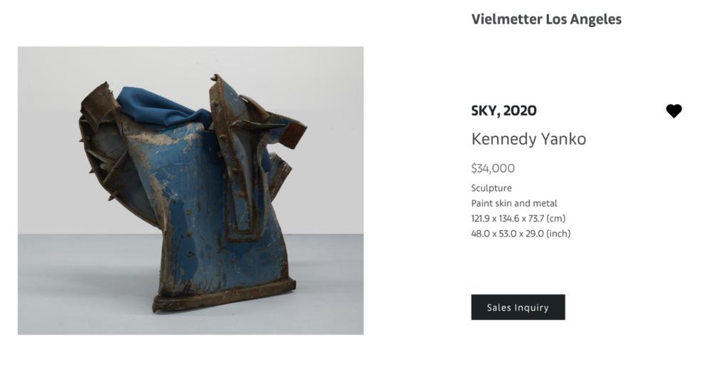 """KENNEDY YANKO, Sky, 2020, Scultura, """"pelle dipinta"""" e metallo, 121.9x134.6x73.7 (cm) - $34.000"""
