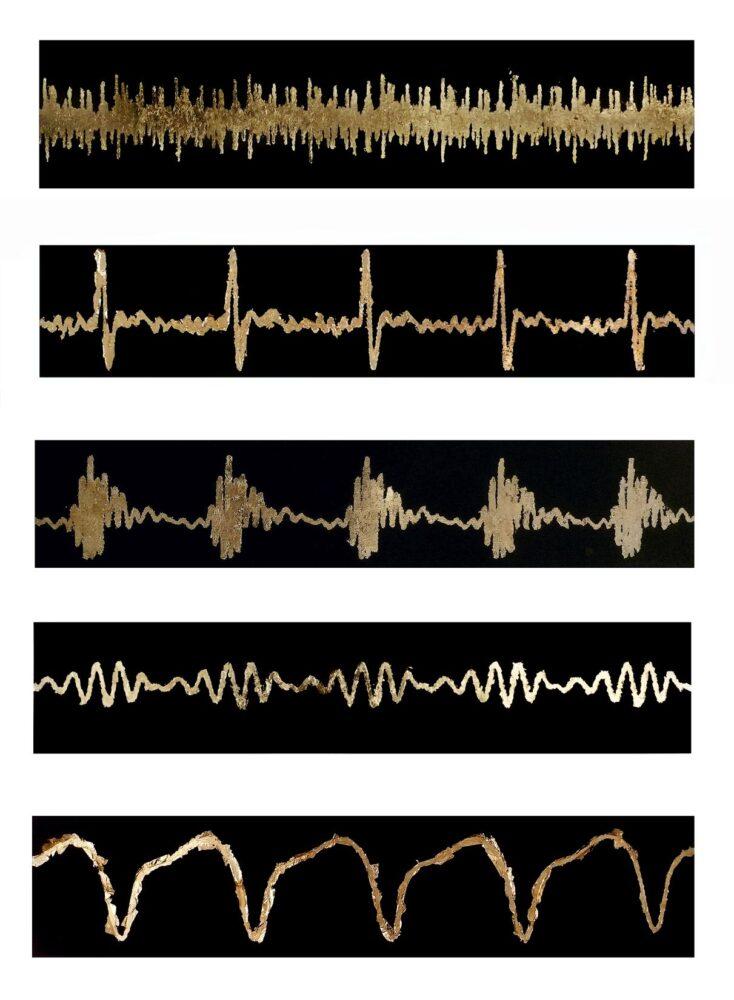 PROMETEOGALLERY Mary Zygouri The stages of Sleep: Brain waves 2020 230 x 123 cm Foglia d'oro su carta per acquarello 300g Courtesy dell'artista e Prometeogallery, Milano, Lucca