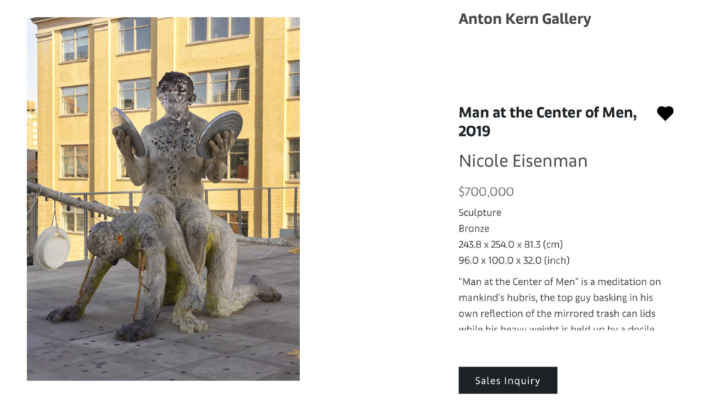 NICOLE EISENMAN, Man at the Center of Men, 2019, Scultura in Bronzo 243.8 x 254.0 x 81.3 (cm) - $ 700.000