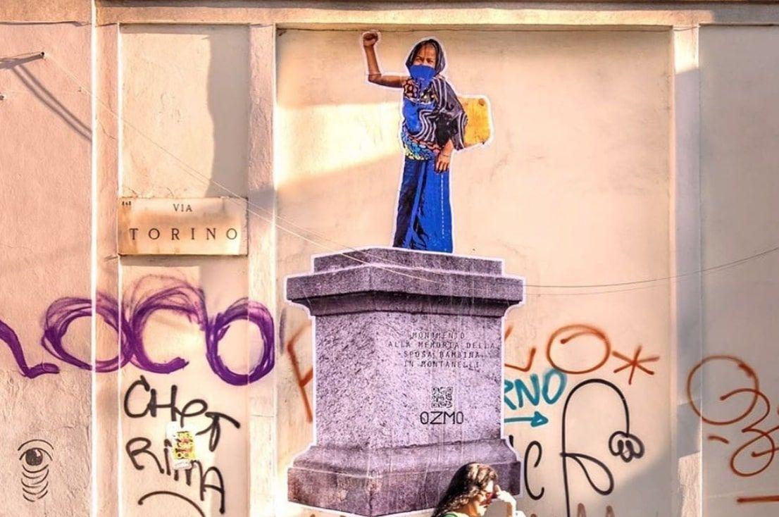 """Ozmo erge il monumento alla sposa bambina di Montanelli. L'arte per """"ridare dignità alla parte lesa e non celebrata"""""""