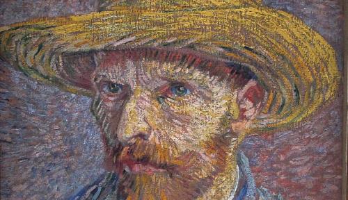 Particolare dell'Autoritratto con cappello di paglia di van Gogh, al Metropolitan
